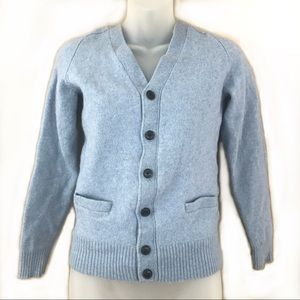 Uniqlo Blue Wool Button Up Cardigan W/ Pockets
